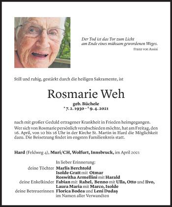 Todesanzeige von Rosmarie Weh von Vorarlberger Nachrichten