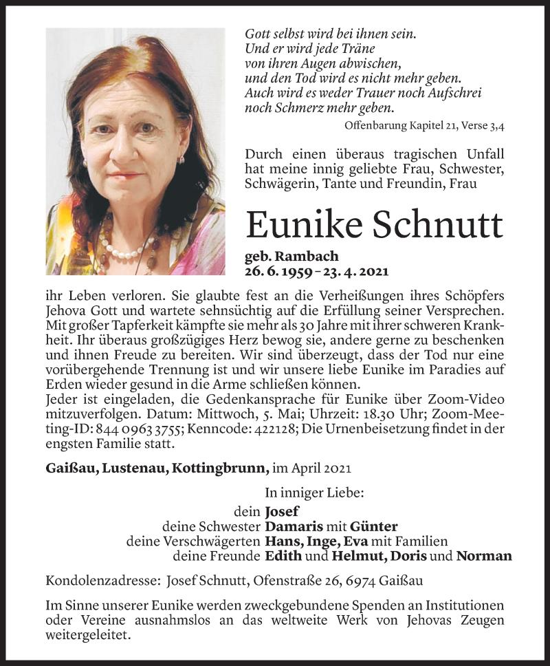 Todesanzeige für Eunike Schnutt vom 29.04.2021 aus Vorarlberger Nachrichten