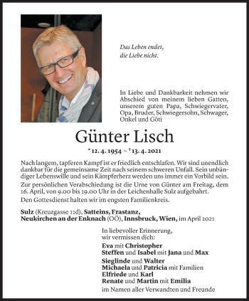Todesanzeige von Günter Lisch von Vorarlberger Nachrichten