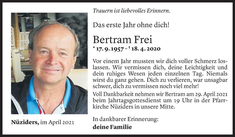 Todesanzeige für Bertram Frei vom 22.04.2021 aus Vorarlberger Nachrichten