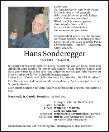 Todesanzeige von Hans Sonderegger von Vorarlberger Nachrichten