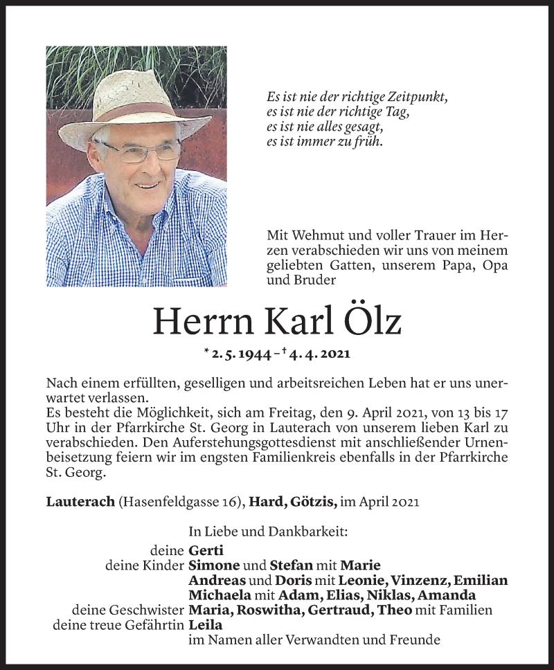 Todesanzeige für Karl Ölz vom 07.04.2021 aus Vorarlberger Nachrichten