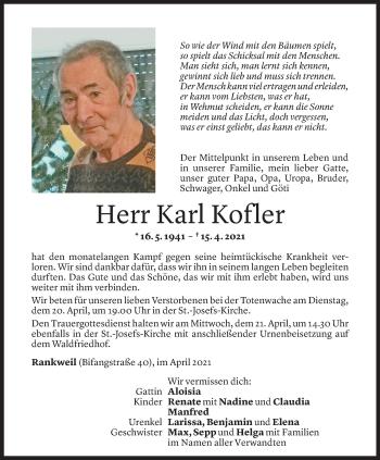 Todesanzeige von Karl Kofler von Vorarlberger Nachrichten