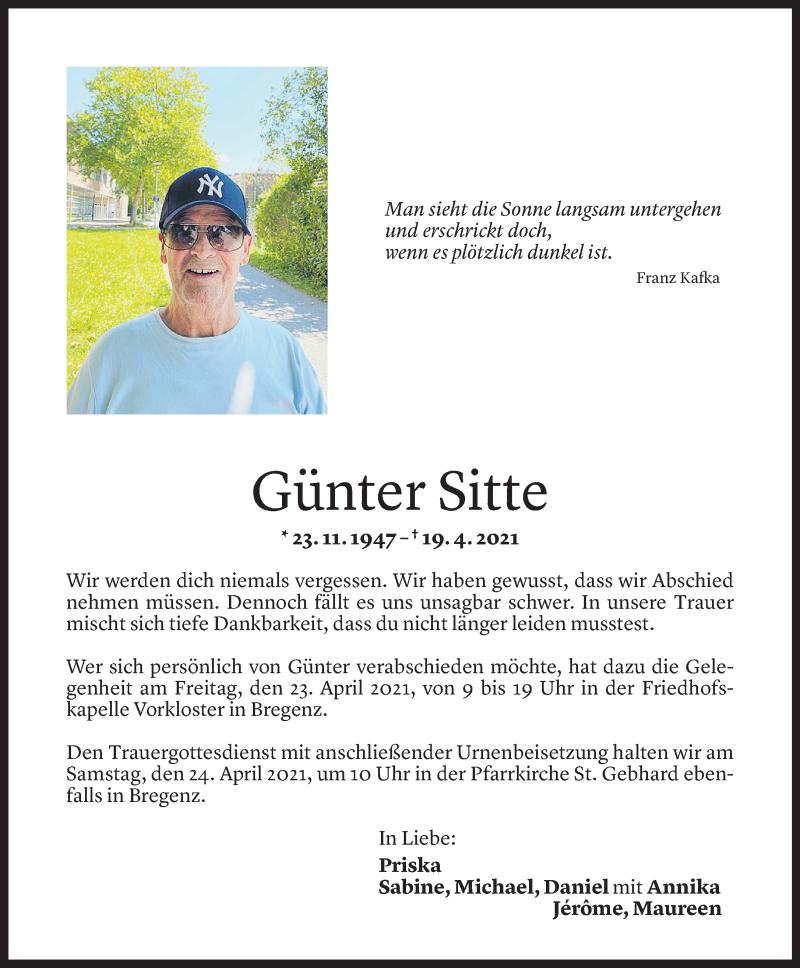 Todesanzeige für Günter Sitte vom 19.04.2021 aus Vorarlberger Nachrichten
