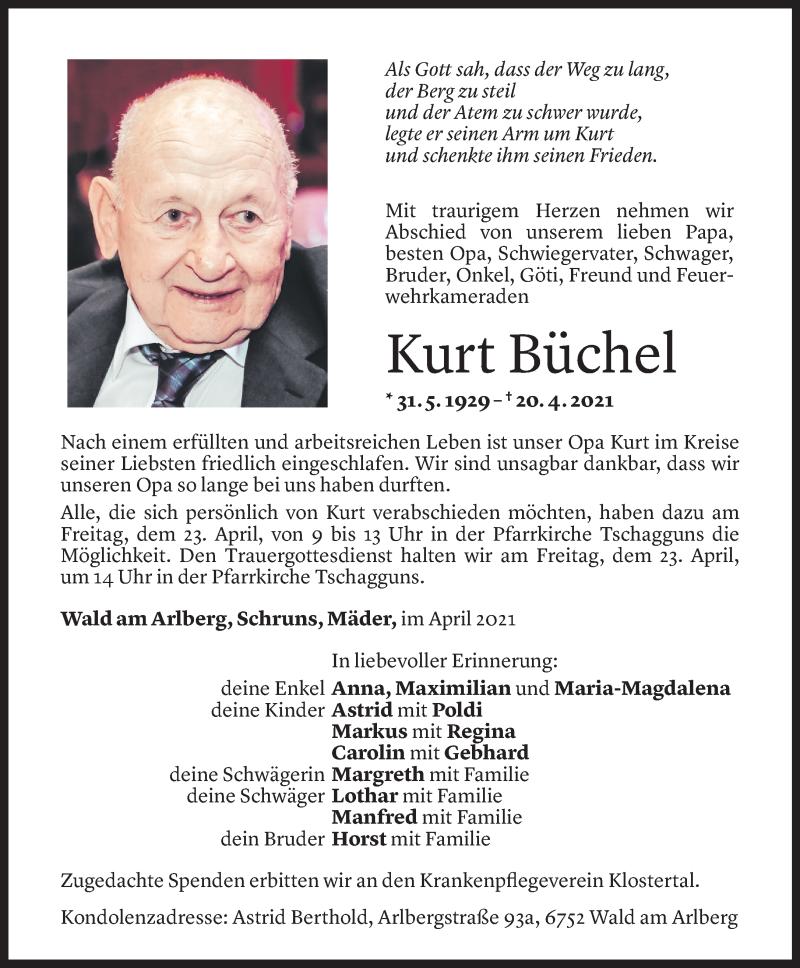 Todesanzeige für Kurt Büchel vom 21.04.2021 aus Vorarlberger Nachrichten