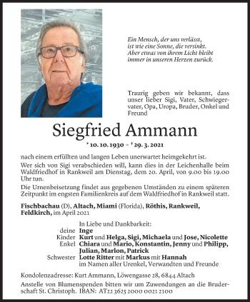 Todesanzeige von Siegfried Ammann von Vorarlberger Nachrichten
