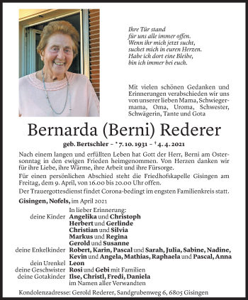Todesanzeige von Bernarda Rederer von Vorarlberger Nachrichten