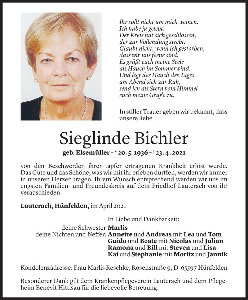Todesanzeige für Sieglinde Bichler vom 29.04.2021 aus Vorarlberger Nachrichten