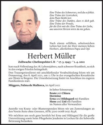 Todesanzeige von Herbert Müller von Vorarlberger Nachrichten