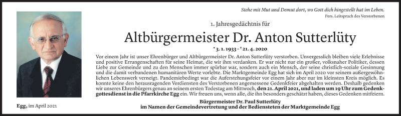 Todesanzeige für Anton Sutterlüty vom 16.04.2021 aus Vorarlberger Nachrichten