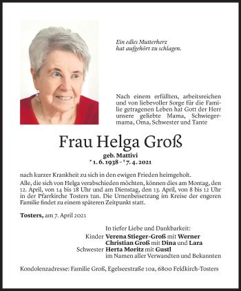 Todesanzeige von Helga Groß von Vorarlberger Nachrichten