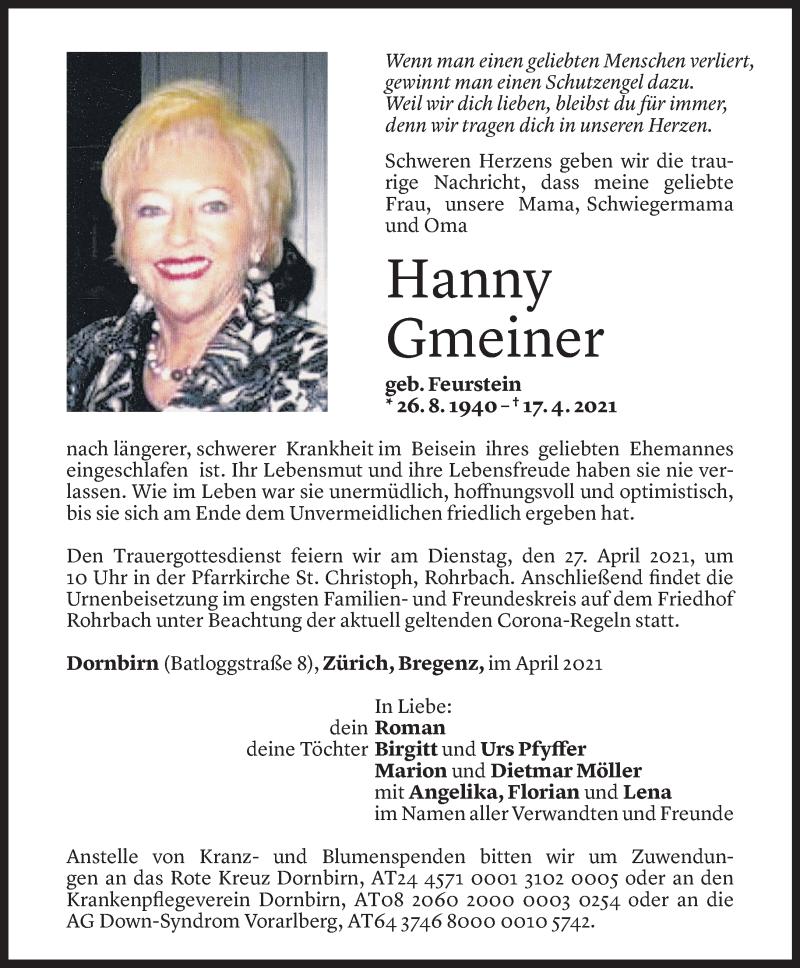 Todesanzeige für Hanny Gmeiner vom 23.04.2021 aus Vorarlberger Nachrichten