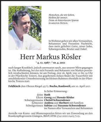 Todesanzeige von Markus Rösler von Vorarlberger Nachrichten