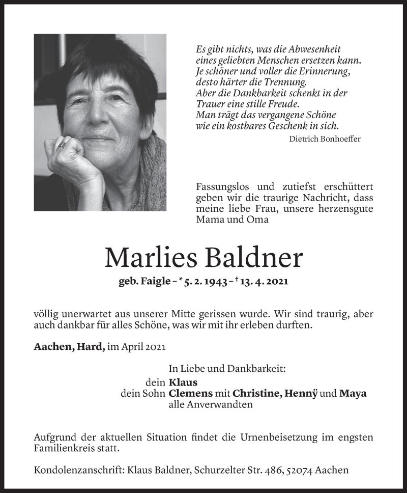 Todesanzeige für Marlies Baldner vom 13.04.2021 aus Vorarlberger Nachrichten