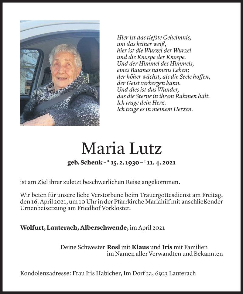 Todesanzeige für Maria Lutz vom 13.04.2021 aus Vorarlberger Nachrichten