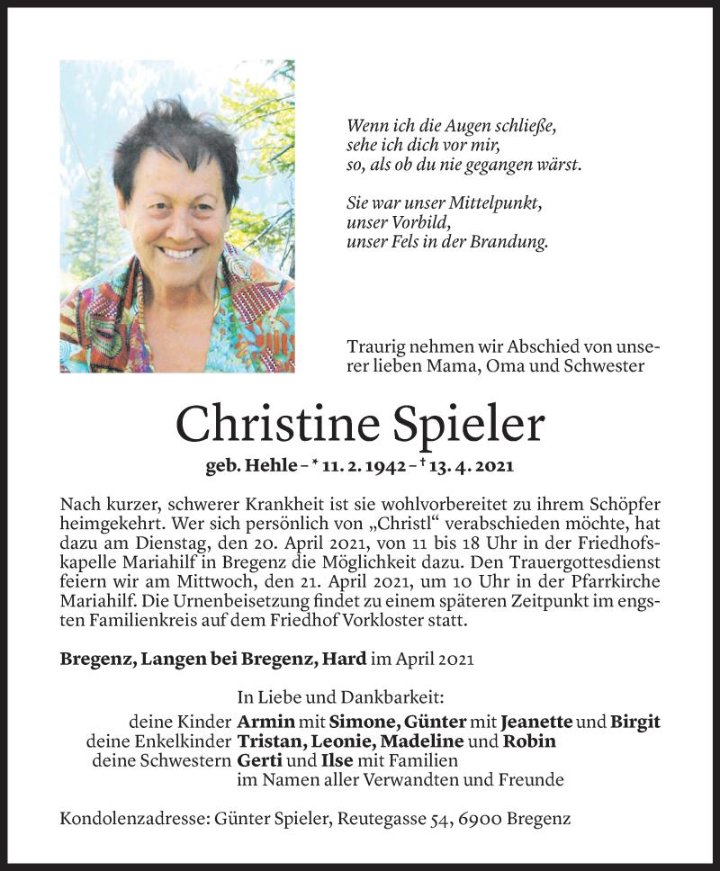 Todesanzeige für Christine Spieler vom 16.04.2021 aus Vorarlberger Nachrichten
