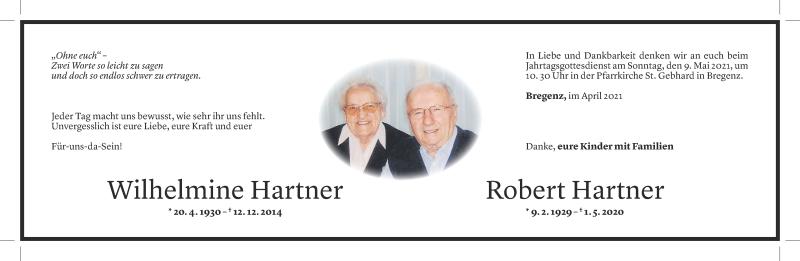 Todesanzeige für Wilhelmine und Robert Hartner vom 29.04.2021 aus Vorarlberger Nachrichten