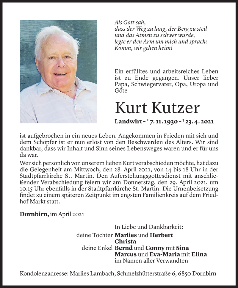 Todesanzeige für Kurt Kutzer vom 26.04.2021 aus Vorarlberger Nachrichten