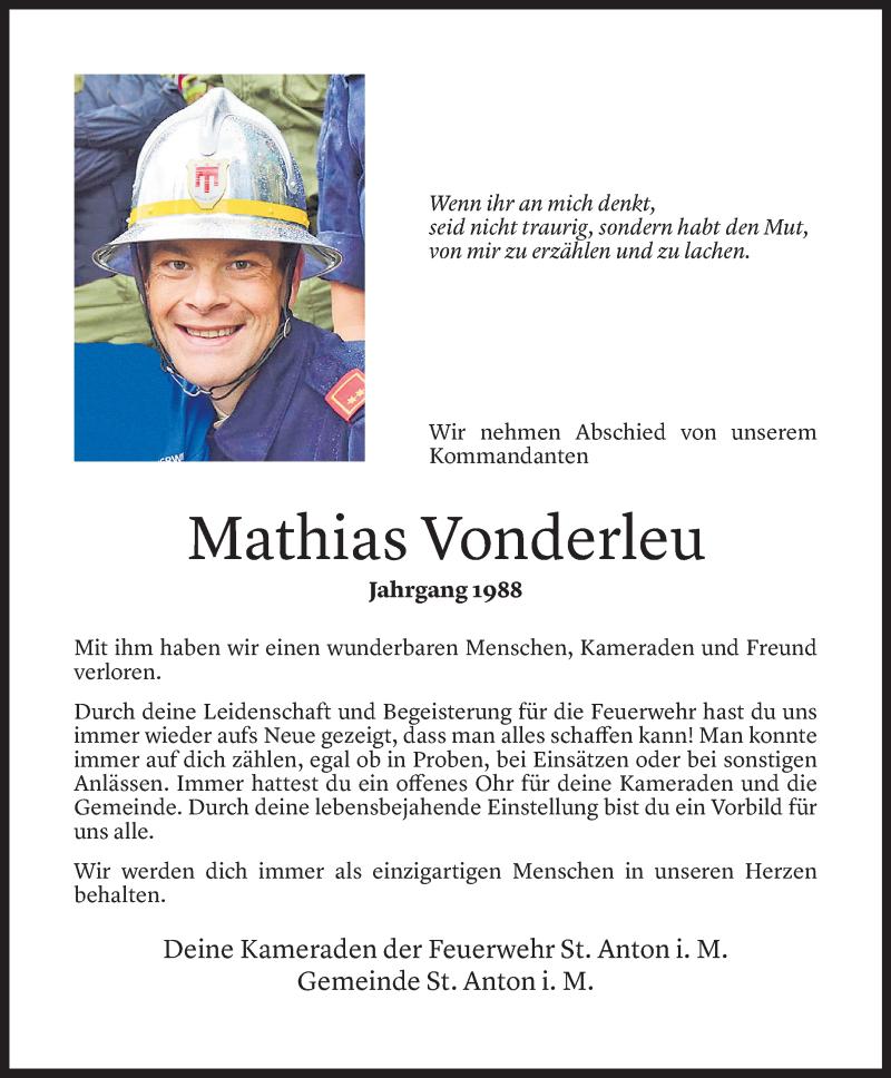 Todesanzeige für Mathias Vonderleu vom 21.04.2021 aus Vorarlberger Nachrichten