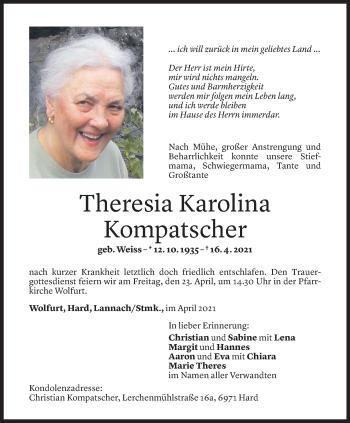 Todesanzeige von Theresia Karoline Kompatscher von Vorarlberger Nachrichten