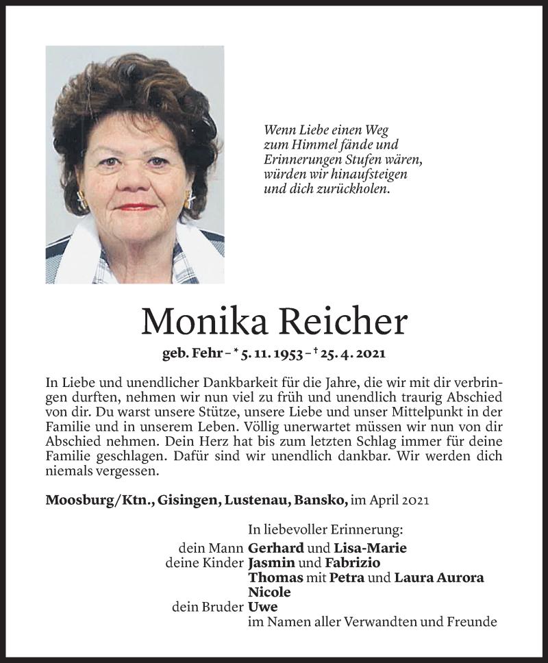 Todesanzeige für Monika Reicher vom 28.04.2021 aus Vorarlberger Nachrichten
