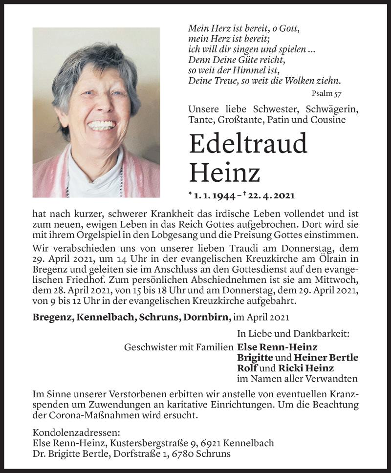Todesanzeige für Edeltraud Heinz vom 26.04.2021 aus Vorarlberger Nachrichten