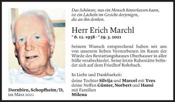 Todesanzeige von Erich Marchl von Vorarlberger Nachrichten