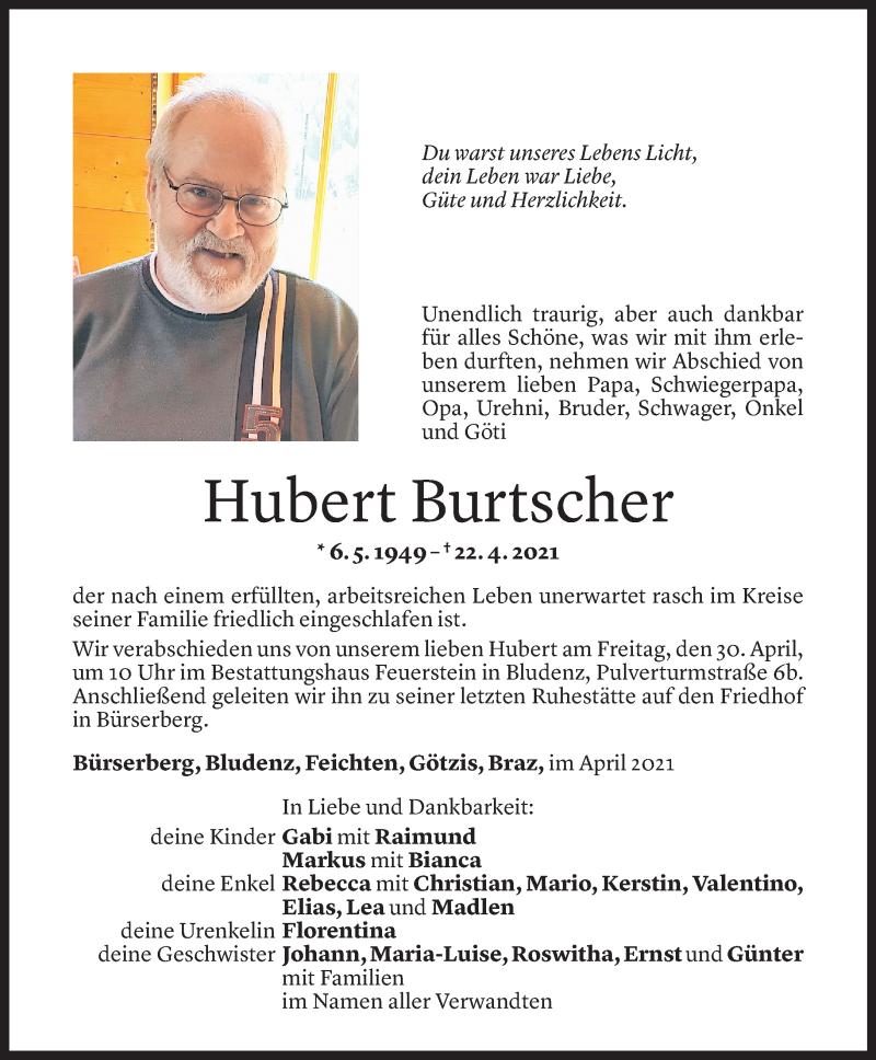Todesanzeige für Hubert Burtscher vom 28.04.2021 aus Vorarlberger Nachrichten