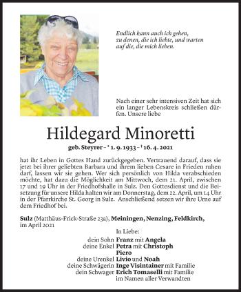 Todesanzeige von Hildegard Minoretti von Vorarlberger Nachrichten