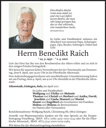 Todesanzeige von Benedikt Raich von Vorarlberger Nachrichten