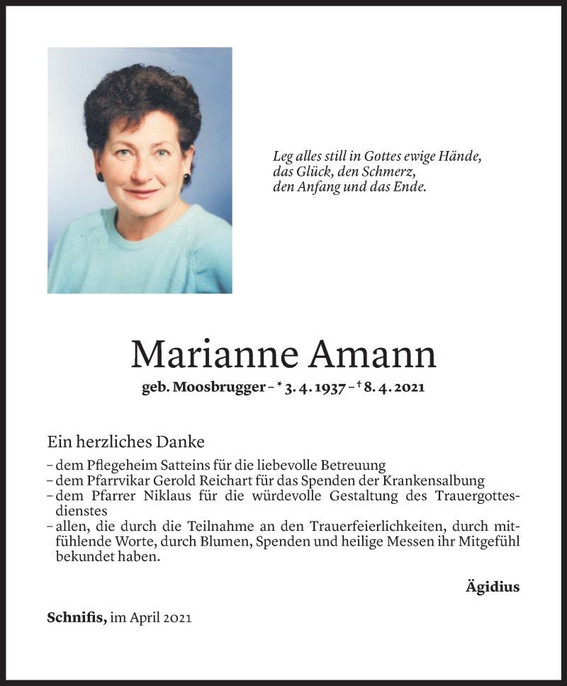 Todesanzeige für Marianne Amann vom 23.04.2021 aus Vorarlberger Nachrichten