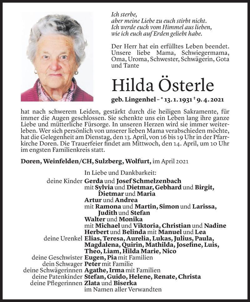 Todesanzeige für Hilda Österle vom 12.04.2021 aus Vorarlberger Nachrichten