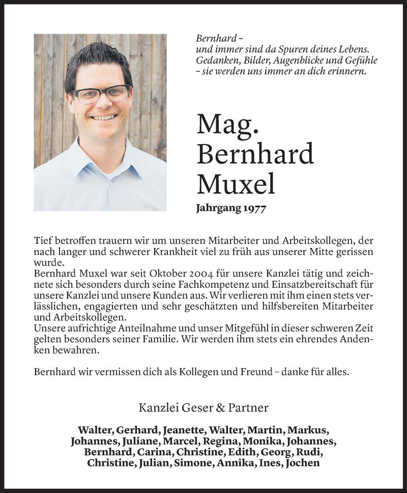 Todesanzeige für Bernhard Muxel vom 07.04.2021 aus Vorarlberger Nachrichten