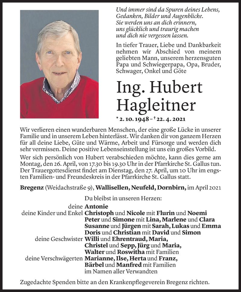 Todesanzeige für Hubert Hagleitner vom 23.04.2021 aus Vorarlberger Nachrichten