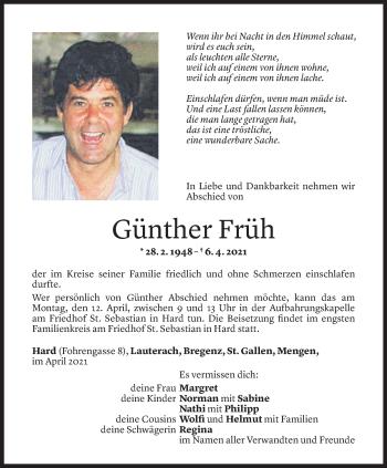 Todesanzeige von Günther Früh von Vorarlberger Nachrichten