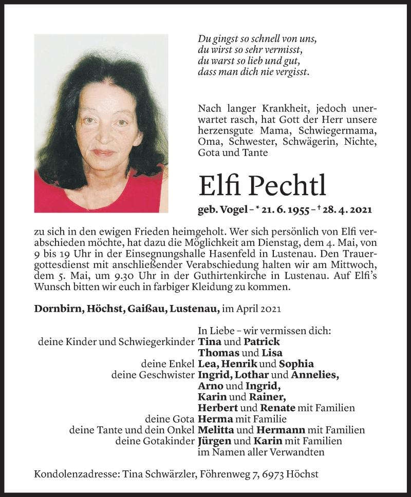 Todesanzeige für Elfi Pechtl vom 02.05.2021 aus Vorarlberger Nachrichten