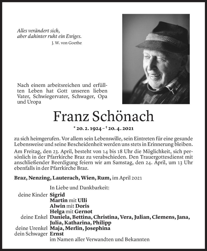 Todesanzeige für Franz Schönach vom 23.04.2021 aus Vorarlberger Nachrichten