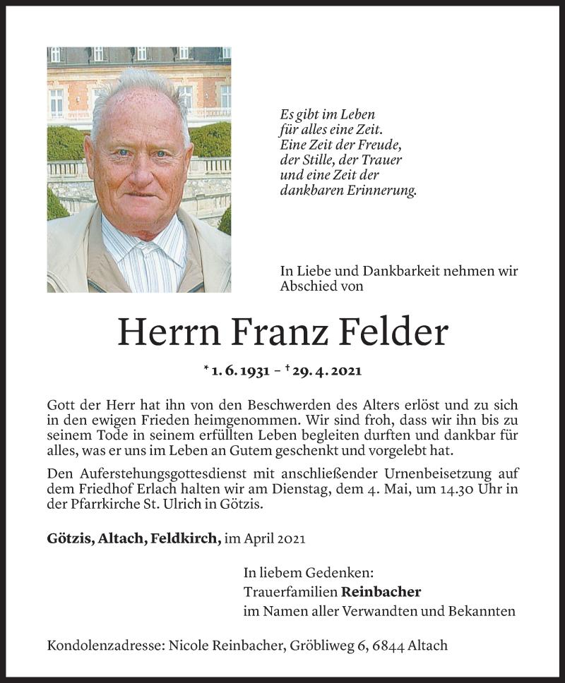 Todesanzeige für Franz Felder vom 30.04.2021 aus Vorarlberger Nachrichten