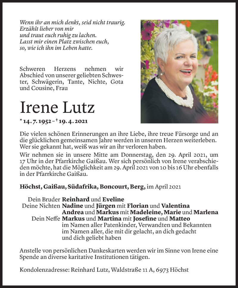 Todesanzeige für Irene Lutz vom 26.04.2021 aus Vorarlberger Nachrichten