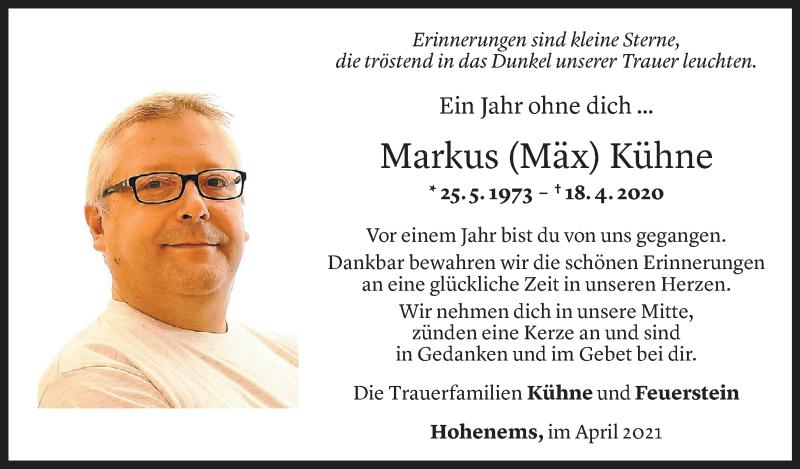 Todesanzeige für Markus Kühne vom 17.04.2021 aus Vorarlberger Nachrichten