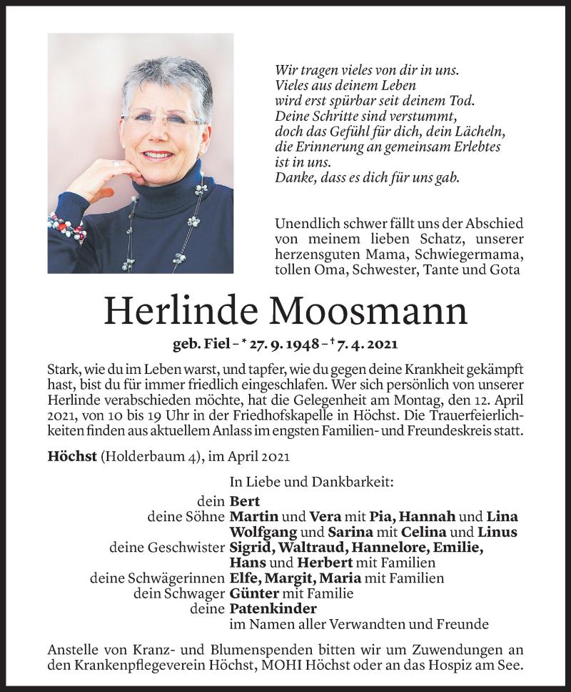Todesanzeige für Herlinde Moosmann vom 08.04.2021 aus Vorarlberger Nachrichten