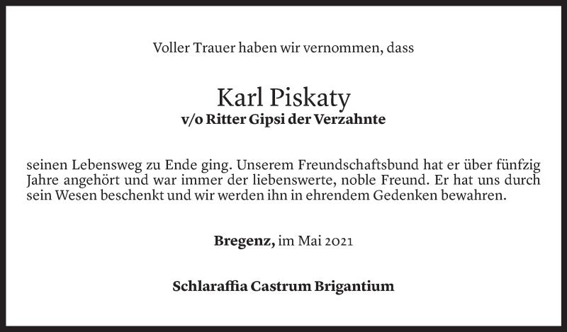 Todesanzeige für Karl Piskaty vom 05.05.2021 aus Vorarlberger Nachrichten