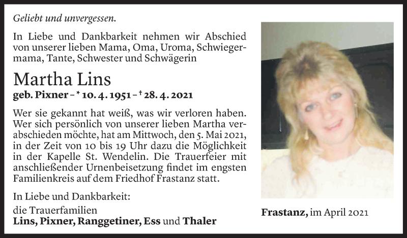Todesanzeige für Martha Lins vom 03.05.2021 aus Vorarlberger Nachrichten