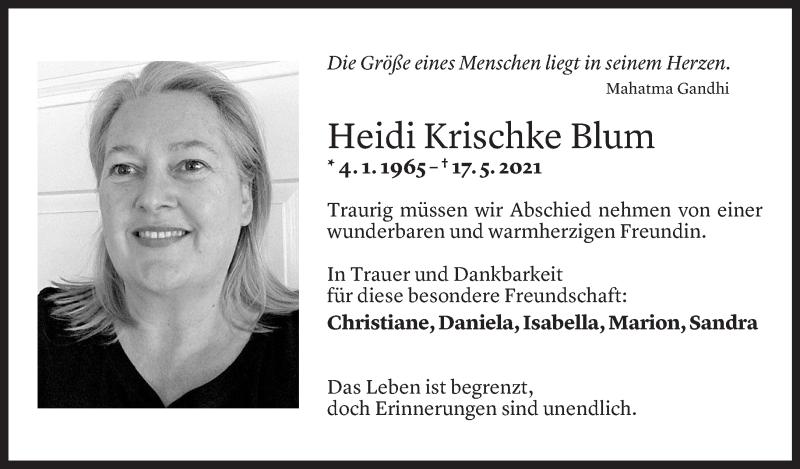 Todesanzeige für Heidi Krischke Blum vom 18.05.2021 aus Vorarlberger Nachrichten
