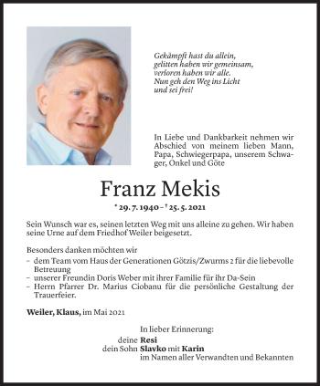 Todesanzeige von Franz Mekis von Vorarlberger Nachrichten