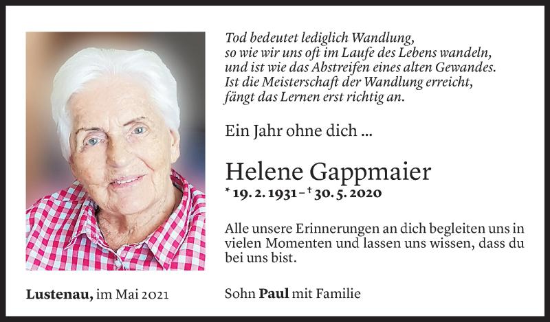Todesanzeige für Helene Gappmaier vom 29.05.2021 aus Vorarlberger Nachrichten