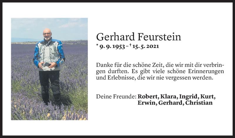 Todesanzeige für Gerhard Feurstein vom 19.05.2021 aus Vorarlberger Nachrichten