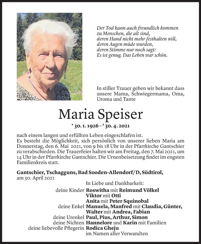 Todesanzeige für Maria Speiser vom 03.05.2021 aus Vorarlberger Nachrichten