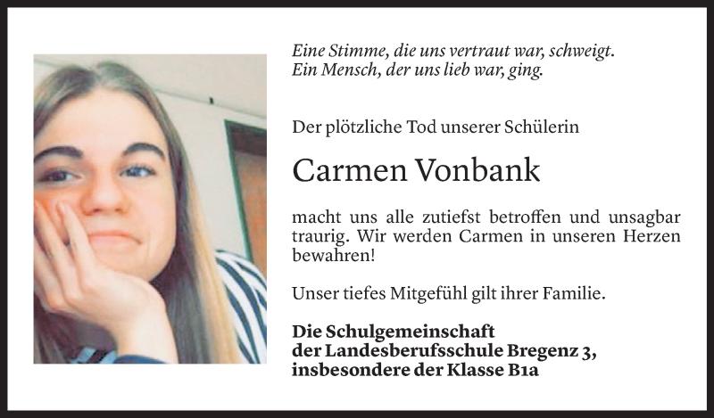 Todesanzeige für Carmen Vonbank vom 05.05.2021 aus Vorarlberger Nachrichten
