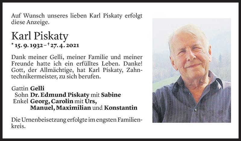 Todesanzeige für Karl Piskaty vom 03.05.2021 aus Vorarlberger Nachrichten
